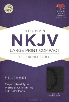 NKJV LP COMP REF BIBLE CHARCOAL LEATHER - 9781433606458